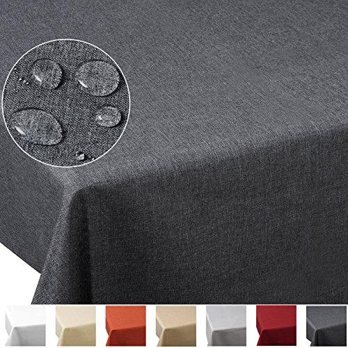 WOLTU #185 TD3056gr Nappe ovale Imperméable aspect en Lin diverses formats et couleurs au choix 160x220cm, Gris