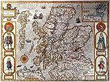 Antike Karte–Schottland 1610–Prints/Bilder–auf einem Leinen Struktur Medium, Image Plus Small Border, 16 x 12inch