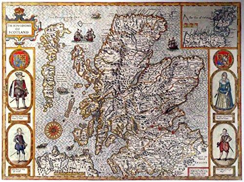 Antike Karte-Schottland 1610-Prints/Bilder-auf einem Leinen Struktur Medium, Image Plus Small Border, 16 x 12inch -