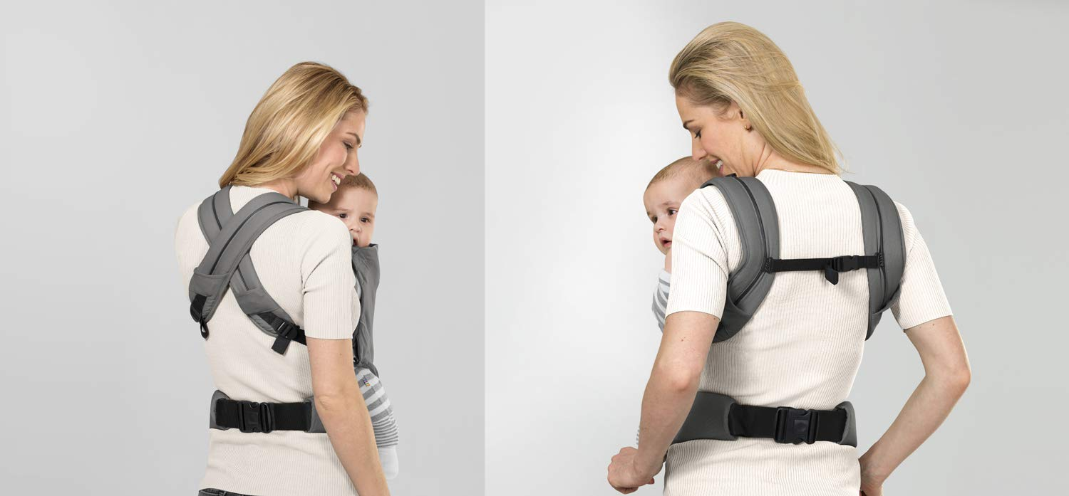 "CYBEX Gold MAIRA.click Ergonomic Baby Carrier, From birth to approx. 2 years (approx. 3.5 - 15 kg), 100% Cotton, Manhattan Grey  Comfortable and versatile adjustable baby carrier: For ergonomic carrying and healthy hip development in babies - Suitable from birth to approx. 2 years (approx. 3.5 - 15 kg), Recommended by the ""International Hip Dysplasia Institute"" Quick and easy putting on/taking off due to practical buckle system, Individually and continuously adjustable, Optimum wearing safety due to safety buckle on the waist belt Width and height-adjustable belt for individual adaptability, Multi-functional head and neck support, Promotes healthy development of the joints through natural squat position 5"