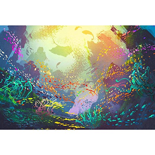 Pitaara Box Underwater with Coral Reef & Colorful Fish Canvas Painting MDF Frame 20.8 X 14Inch - Home Essentials Reef