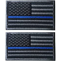 Tacvasen 2pièces-USA American Flag Patch Embroidered Iron on Sew on Patch, Homme, Black Grey - Thin Blue Line