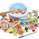 Magnetisches Holzpuzzles Kinderspielzeug Lernspielzeug Magnetic Angeln Spiel Holz Geschenk Magnet Hölzerne Magnettafel für Kinder 3 Jahr