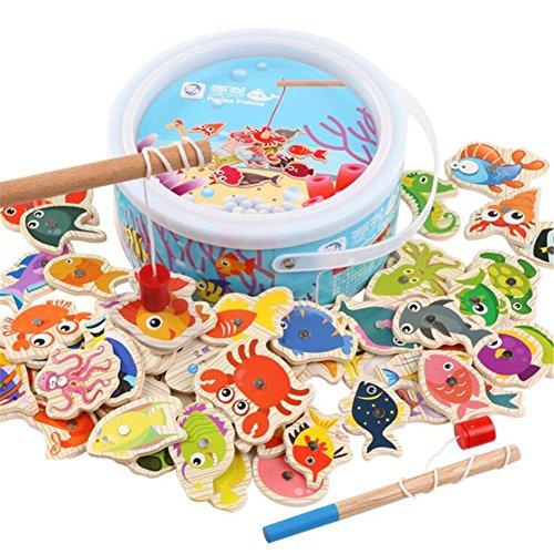 Magnetisches Holzpuzzles Kinderspielzeug Lernspielzeug Magnetic Angeln Spiel Holz Geschenk Magnet Hölzerne Magnettafel für Kinder 3 Jahre