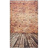 Zibuyu 3X5Ft Brick Wall Photography Backdrop Photo Wooden Floor Background Studio