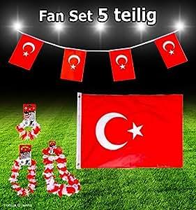 PARTY Fan-Set 5 Teilig TÜRKEI TÜRKIYE BAYRAK EM WM Fanartikel Fanpaket Dekoration Party-Deko