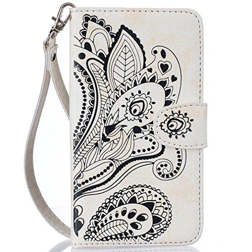 LMAZWUFULM Hülle für HTC Desire 650/628 / 626G 5.0 Zoll PU Leder Magnet Brieftasche Lederhülle Pfau-Blumen Prägung Design Stent-Funktion Ledertasche Flip Cover für HTC 650/628 / 626G Weiß