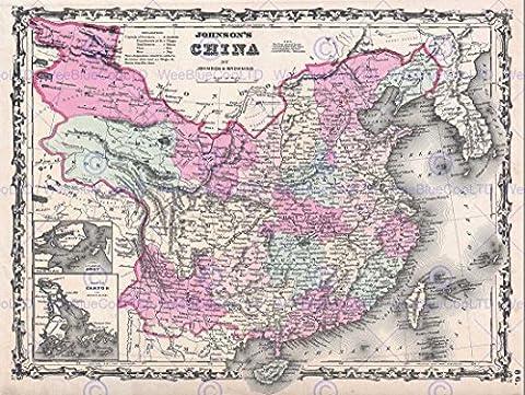 1861 JOHNSON MAP CHINA VINTAGE POSTER AFFICHE ART PRINT 12x16 inch 30x40cm 2931PY