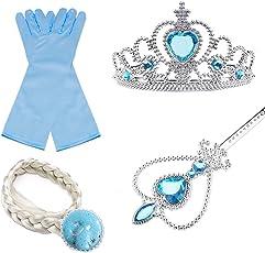 Regina Elsa principessa Anna - Accessori costume per ragazze - Include bacchetta magica, tiara in strass, treccia di capelli e guantI