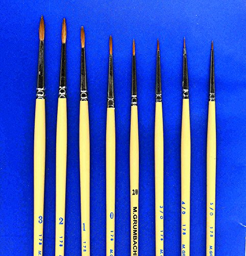 Red Sable Set (Red Sable Brush Set of 3 Sizes (#2/0; #1 And #2))