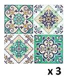 Lote de 12 Pegatinas de pared adhesivas - Motivo cuadrados de cemento - Color VERDE, BEIGE; MARRON y AZUL