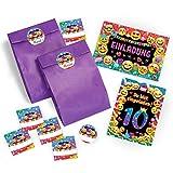 JuNa-Experten 12 Einladungskarten zum 10. Geburtstag für Mädchen incl. 12 Umschläge, 12 tüten / lila, 12 Aufkleber / Einladung zehnte Geburtstag Kindergeburtstag
