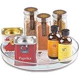 mDesign roterande köksförvaring – rund kryddhylla i plast – förvaringsbricka för kryddor, oljor och andra matlagningstillbehö