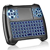 Molorical Mini Tastatur mit Touchpad Beleuchtet, Funktastatur mit Maus, 2.4GHz QWERTY Keyboard Kabellos, Wireless Tastatur USB Fernbedienung, für Smart TV, HTPC, IPTV, Android TV Box, XBOX360, PS3,PC