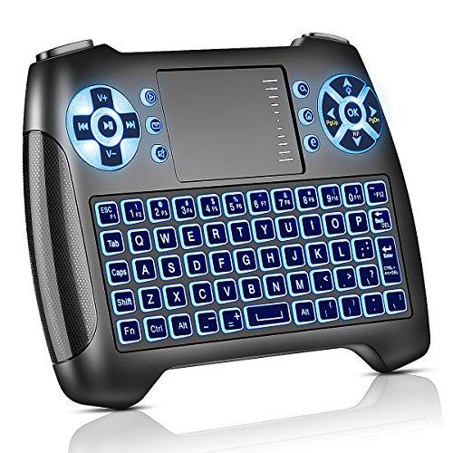 Mini Tastatur mit Touchpad Beleuchtet, Funktastatur mit Maus, 2.4GHz QWERTY Keyboard Kabellos, Wireless Tastatur USB Fernbedienung, für Smart TV, HTPC, IPTV, Android TV Box, XBOX360, PS3, PC, usw. (Englisch)