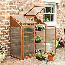 Rowlinson HWGROWST2 Hardwood Mini Greenhouse, Brown, 120x63x144 cm