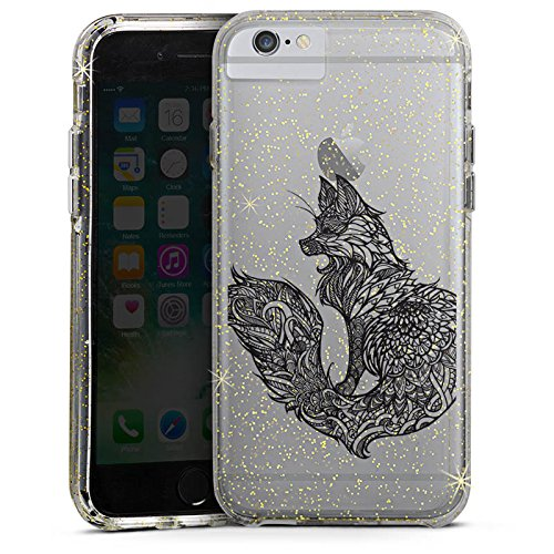 Apple iPhone 6 Plus Bumper Hülle Bumper Case Glitzer Hülle Transparent mit Muster Fuchs Mandala Bumper Case Glitzer gold