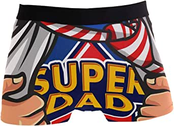 JIRT Slip da Uomo Boxer Dad Is My Supereroe Biancheria Intima da Uomo Tronches Stretch Traspirante Morbido Pouch Soft Underpants