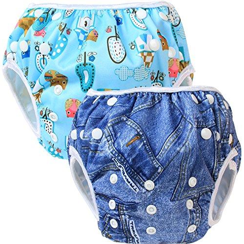 Teamoy 2-teilig Baby Schwimmhose Badewindelhose Badehose (Denim+ Comfortable Life)