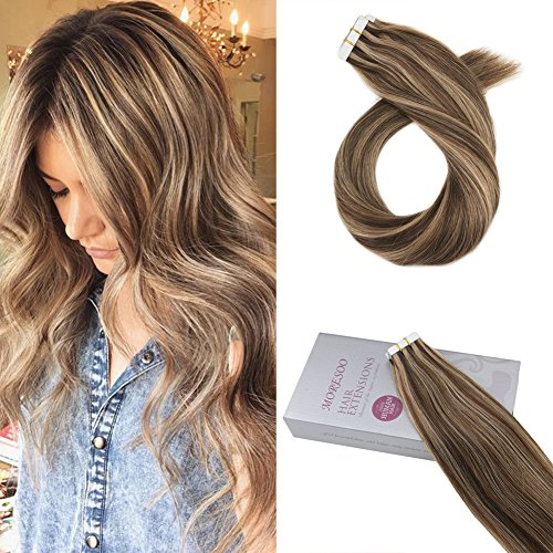 Moresoo 20 pollice extension capelli brasiliiani biadesive marrone #4 highlights with caramello biondo #27 100% remy umano tape in human hair extenions 50g/20pcs