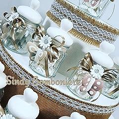 Idea Regalo - Vasetti con tappo a cuore ceramica bianco e farfalla pendente bomboniere shabby SB