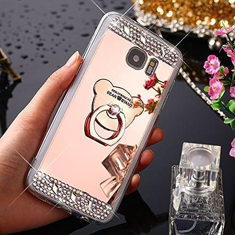 Galaxy S6 Edge Plus Hülle, Galaxy S6 Edge Plus Spiegel Hülle Mirror Case, Ukayfe [Glitzer Strass Bär Handy Ständer Ring Holder] Glitzer Silikon Hülle Samsung Galaxy S6 Edge Plus Rose Gold Plating Silikon Schutzhülle Luxus Glänzend Glitzer Kristall Strass Rahmen Weich TPU Handy Tasche Ultra Dünn Silikon Weich Crystal Handyhülle mit Make Up Spiegel Mirror Kratzfeste Handy Tasche Schale Etui Bumper für Samsung Galaxy S6 Edge Plus - Bär Rose
