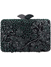 Bonjanvye Flower Kisslock Purses with Crystal Rhinestones Evening Clutch Bag