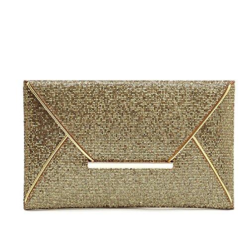 Ukamshop Luxus Frauen Pailletten glänzend Umschlag Clutch Handtasche Abend-Partei Portemonnaie Gold