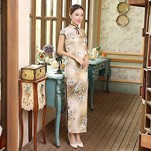 Bigood Robe Chinois Femme Dame Soie Imité Cheongsam Double Couche Mince Abricot