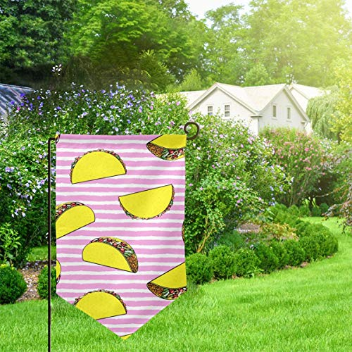 IconSymbol Garden Outdoor Flag Banner Tacos On Stripes CBS Decorative Weather Resistant Double Stitched 18x12.5 Inch -