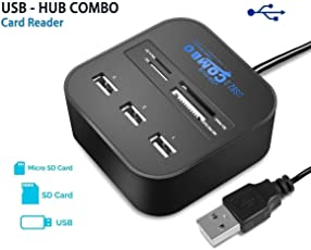 InfiHub All In One Card Reader 3 Ports USB 2.0 Hub External Memory Card Reader for MS/MS PRO Duo SD/MMC M2 Micro SD/TF Card Reader for Pen Drive/cameras/mobiles/PC/Laptop/Notebook/Tablet or Docking Station/ MP3s/PDAs Random Color