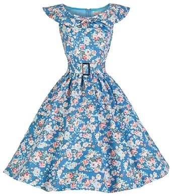 Lindy Bop 'Hetty' Vintage 1950's Spring Garden Floral Party Dress (12, Sky Blue Floral)