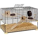 Ferplast 57056317W1 Nagarium Karat 100, aus Glas, Komplettausstattung, Maße: 98,5 x 50,5 x 61,5 cm, schwarzes Gitter