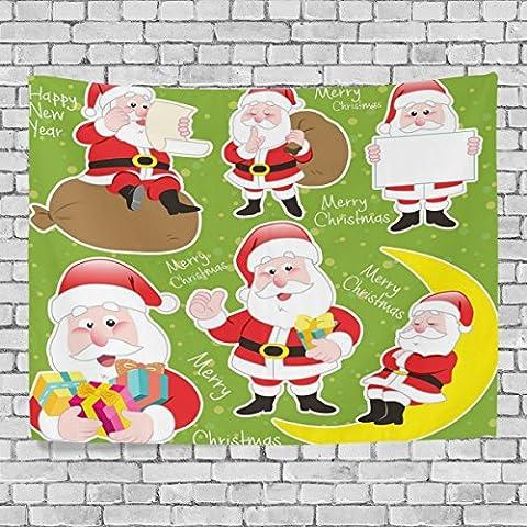 welllee Merry Christmas Wand Wandteppich, Motiv Xmas Cartoon Santa Claus, werfen Home Decor Wandteppich für Schlafzimmer oder Wohnzimmer, 60x 40(in), Textil, blau, 60x40(in)