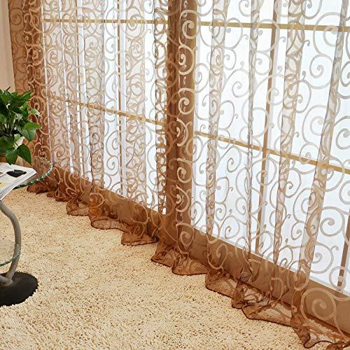 Kostüm Bloße - Busirde Neue Blumen Tüll Voile Tür Schal Valances drapieren bloße Fenstervorhänge
