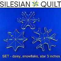 Juego de plantillas para quilting - Daisy, Estrella, Copo de nieve 3 pulgadas
