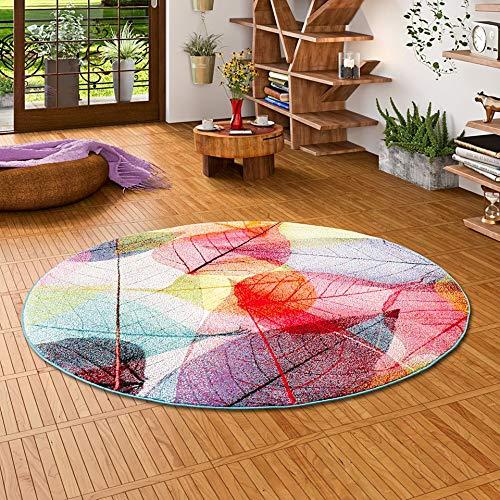 Pergamon Faro - Alfombra de diseño Redonda Tropical Hojas de Colores