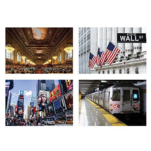 New York City Manhattan Poster, 33 x 48 cm, Times Square, Wall Street, NY City Subway, NY City Public Library - Perfekt für New York Liebhaber, Geschäfte, Hotels, Hotels, Zuhause, Büro und mehr