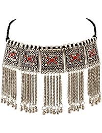 Zephyrr Necklace Boho Tribal Style Oxidized Silver Pendant Tassel Choker for Girls and Women