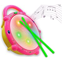 N Dim Flash Drum with Sticks - Pink and Yellow
