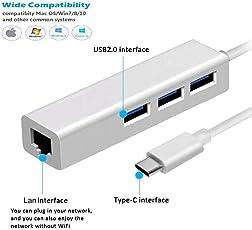 GIA DIGITAL™ USB HUB USB 3.1 USB-C Type-C Hub to RJ45 Ethernet LAN Adapter With 3 Port USB Hub for MacBook PC / USB-C Hub/Type C to RJ45 Gigabit Ethernet Lan Network Hub, with 3 Port USB Hub for MacBook/Pro/iMac/ChromeBook/Pixel/Type-C Devices/ Type-C to RJ45