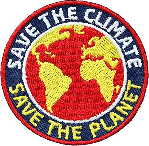 Club of Heroes 2 x Klimaschutz Abzeichen gestickt 52 mm/Save The Climate/Klima Klimawandel Erderwärmung Erde Nachhaltigkeit Mobilität Politik Planet/Aufnäher Aufbügler Flicken Sticker Bügelbild Patch