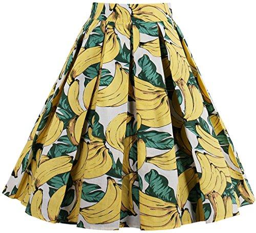 Eudolah Damen Kleid Vintage Sommerrock Knielang Faltenrock Stoffdreuck Banane Gr.L (Für Kleid Banane Frauen)