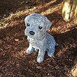 Antikas - perrito decorativo resistente a la intemperie - figura de perro decoración jardín patio terraza hogar - cachorro de piedra