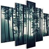 murando Bilder nachtleuchtend 200x100 cm Tag & Nacht Wandbilder 5 TLG Bilder 3D nachleuchtende Farben Kunstdruck Vlies Leinwand XXL Fertig Aufgespannt - Wald Nebel c-B-0357-ag-m