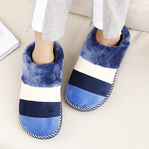 DogHaccd pantofole,Autunno e Inverno paio di pantofole di cotone caldo più strisce di velluto e pacchetti Home cotone pantofole pavimento femmina home pantofole Blu scuro1