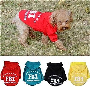 La Cabina Deguisement Chaud Manteau Vetements a Capuche Chandail Costume FBI Imprime pour Pet Chiot Chien Chat