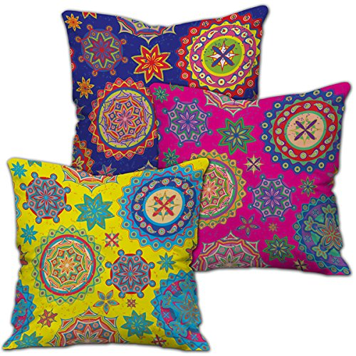 Ethnic Bohemian Pattern (Pink, Yellow & Blue) Printed Cushion Cover with Filler (12