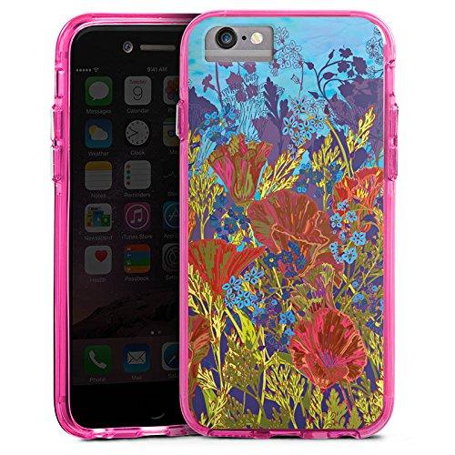 Apple iPhone 7 Bumper Hülle Bumper Case Glitzer Hülle Red Rote Blumen Bumper Case transparent pink