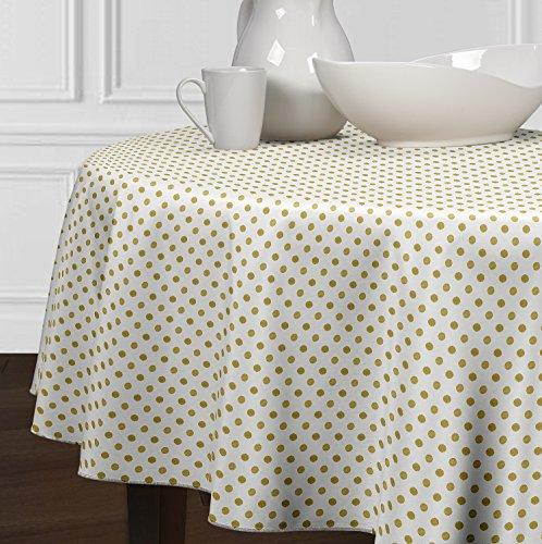 5 Stück-sammlung-tabelle (A LuxeHome weiß und Metallic Gold Modernes Polka Dot Tischdecken Esszimmer Küche Rund 182,9cm)
